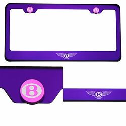 Candy Purple License Plate Frame 304 Stainless Steel Laser Engraved Bentley Logo