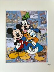 Mickey Mouse, Donald Duck And Goofy - Hand Drawn And Hand Painted Cel