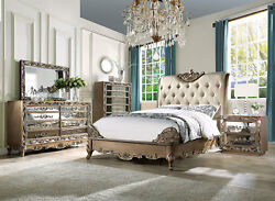 Traditional Brownish Gold 5 piece Bedroom Set w King Sleigh Upholstered Bed AAL