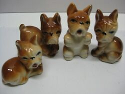 Miniature Porcelain French Bulldogs Set of Four Made in Japan