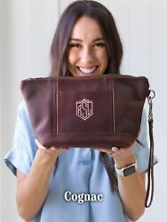 Makeup Bag PERSONALIZED Leather Bag MONOGRAM Womens Bridesmaid Gift Cognac
