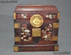 Chinese Redwood Wood Inlay Shell Coral Gem Flower Bird Statue Drawer Jewelry Box