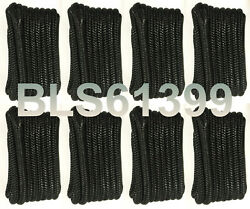 8 Black Boat Dock Lines 1/2 Double Braid Hq Marine Rope 2 Each 15and039 And 20and039 Feet