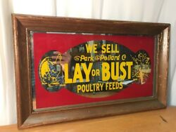 Vintage Park & Pollard Lay Or Bust Poultry Feeds Chicken Mirror Sign