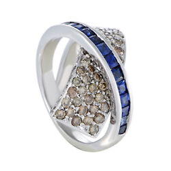 18k White Gold Brown Diamond And Sapphire Criss-cross Ring
