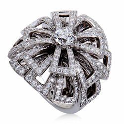 Chanel 18K White Gold Diamond Pave Flower Cocktail Ring