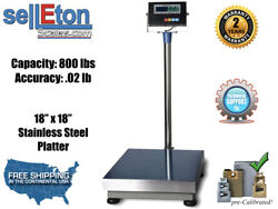 """800 Lb X .02 Lb Bench Scale With Stainless Steel 18"""" X 18"""" Platter"""