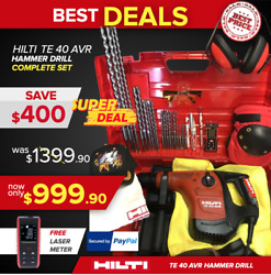 Hilti Te 40 Avr Hammer Drill, Preowned, Free Laser Meter, Fast Ship