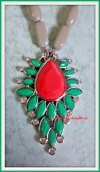 Lia Sophia tropical KAUAI necklace lush green & coral w volcano gray RV $128 NIB