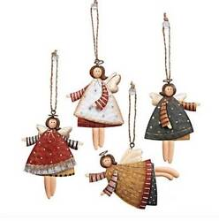 12ct Country Angels Christmas Tree Ornaments Vintage Style Decorations Metal 4