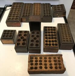 Antiques Vintage 11 Lot 1900's - 1940's Wooden Empty Box Steel Stamp Punch