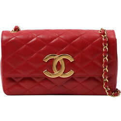 Vintage CHANEL Design Flap Big CC Mark Plate Chain Bag Red