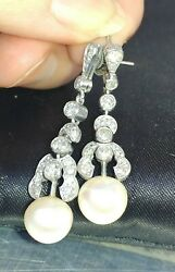 Ladies Antique Platinum Diamond And Pearl Earrings Real Not Costume Pierced Ears
