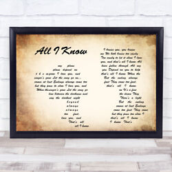 All I Know Man Lady Couple Song Lyric Quote Print