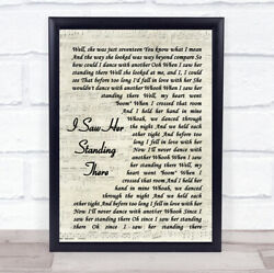 I Saw Her Standing There Vintage Script Song Lyric Quote Print