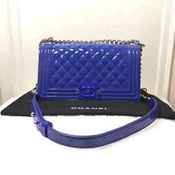 Authentic CHANEL Boy 25 Matelasse Chain Shoulder Bag Blue Carf Skin Enamel B0188