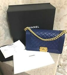 Auth CHANEL Boy 25 Matelasse Chain Shoulder Bag Navy Blue Carf Skin 2017 B0190