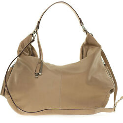 Cromia Italian Made Beige Soft Leather Large Slouchy Hobo Bag with Side Zippers