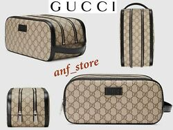 NEW GUCCI GG Supreme Makeup TOILETRY Travel Cosmetic Kit Bag Leather Trim 406395