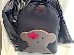 Tous Navy Blue Backpack Leather And Vinyl Brand New
