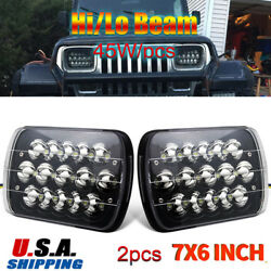 2pcs 7x6and039and039 Led Headlights For 1986-1995 Jeep Wrangler 1984-2001 Jeep Cherokee