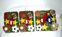 3 D Sports Theme Ceramic Light Switch Covers Lot Of 3 2 Single And 1 Double