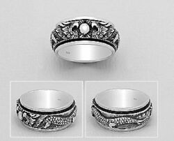 mens spin ring solid sterling silver Hallmarked 925 Dragon Design 9mm wd Large