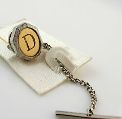 Vintage Tie Tack Tac Lapel Pin Letter D Initial Personalized Two Tone