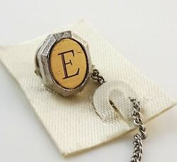 Vintage Tie Tack Tac Lapel Pin Letter E Initial Personalized Two Tone