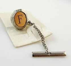 Vintage Tie Tack Tac Lapel Pin Letter F Initial Personalized Two Tone