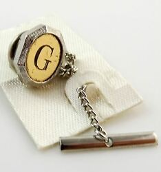 Vintage Tie Tack Tac Lapel Pin Letter G Initial Personalized Two Tone