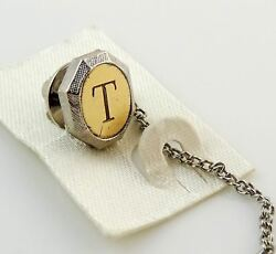 Vintage Tie Tack Tac Lapel Pin Letter T Initial Personalized Two Tone