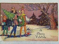 Rare 1920s Art Deco Christmas Card Colorful A Merry Yuletide Greeting Carolers