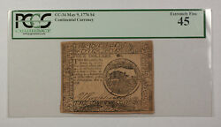 May 9th 1776 4 Continental Currency Note Pcgs Ef-45 Cc-34