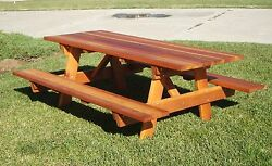 Best Redwood 6ft Picnic Table With Attached Benches