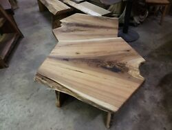 Live Edge Butternut Slab Wood Coffee Table End Stands Bench One Of A Kind Rare