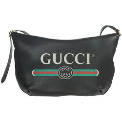 GUCCI WOMEN'S LEATHER CROSS-BODY MESSENGER SHOULDER BAG GUCCI PRINT BLACK 2F1