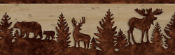 Forest Lodge Brown Silhouettes on Faux Wood Wallpaper Border 3118 35711B