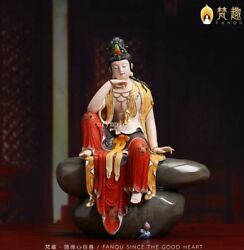 21'' Collection white porcelain mineral pigment comfortable Guanyin Bodhisattva