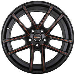4 GWG ZERO 18 inch Black Red Mill Rims 18x9 fits CHEVY IMPALA 2000 - 2013