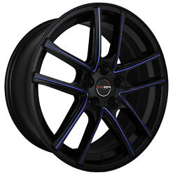 4 GWG ZERO 18 inch Black Blue Mill Rims 18x9 fits CHEVY IMPALA 2000 - 2013