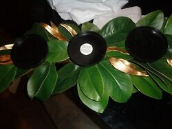 Pottery Barn GOLD & GREEN MAGNOLIA CANDLE HOLDERS Christmas New wo tag