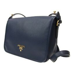 PRADA Women's Authentic NEW Navy Blue Pattina Leather Messenger Bag
