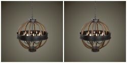 Pair Urban Industrial 34 Hammered Metal And Wood Chandelier Dining Pendant Light