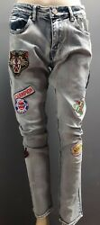 Men's Rebel Minds Jeans with Patches - Light Blue