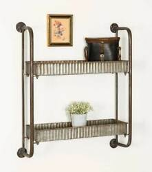 Country Farmhouse Vintage Metal Corrugated Double Wall Shelf