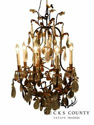 Italian Gilt Metal Vintage 1950's Chandelier With Prisms And Glass Fruit