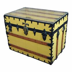 19th century Beautiful Steamer Trunk -Coffee table painted yellow