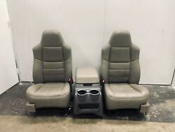 2008-2010 FORD F250 F350 F450 LEATHER FRONT SEATS SEAT SET  CONSOLE STONE GREY