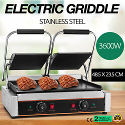 3600W Electric Twin Contact Grill Griddle Panini Grill Toasted Maker 2x1.8KW